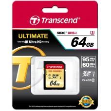 Карта памяти SD 64GB Class 10 U3 Transcend TS64GSDU3 высокоскоростная