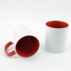 Кружка MT-B002Н для сублимации, ручка и внутренняя часть в цвете, 11oz, Красная (48)
