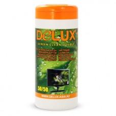 Чистящие салфетки, Delux, Screen Clean Double 50/50  100шт/туба (оранжевая)