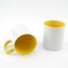 Кружка MT-B002Н для сублимации, ручка и внутренняя часть в цвете, 11oz, Желтая (48)