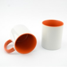 Кружка MT-B002Н для сублимации, ручка и внутренняя часть в цвете, 11oz, Оранжевая (48)